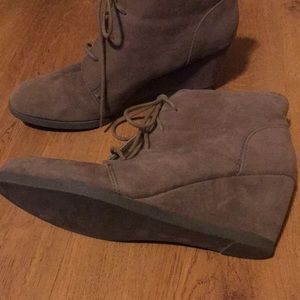 Madden Girl Shoes - Madden Girl Faux Suede Lace Up Wedge Bootie